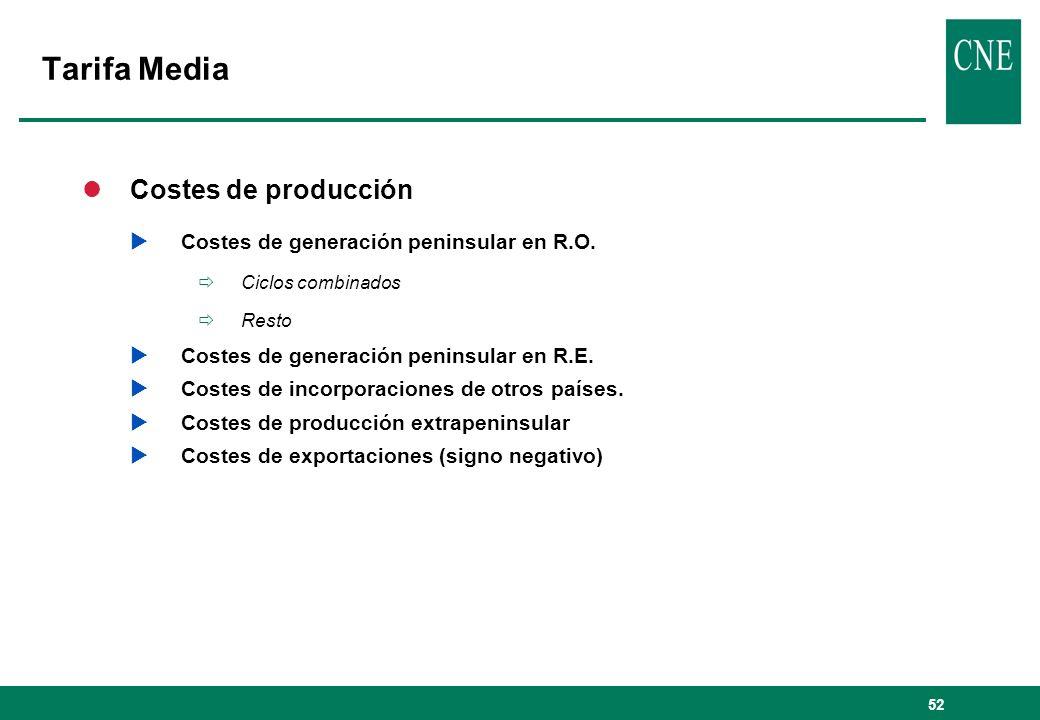 52 lCostes de producción Costes de generación peninsular en R.O. Ciclos combinados Resto Costes de generación peninsular en R.E. Costes de incorporaci