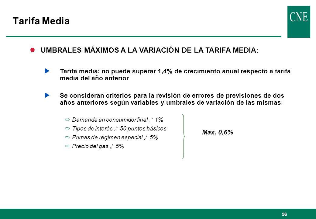 56 Tarifa Media lUMBRALES MÁXIMOS A LA VARIACIÓN DE LA TARIFA MEDIA: Tarifa media: no puede superar 1,4% de crecimiento anual respecto a tarifa media