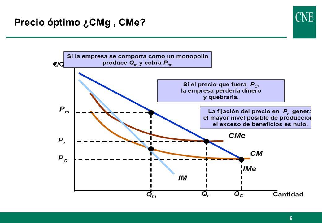 7 Precio óptimo: tarifas en dos partes PROBLEMASOLUCIÓNOBSERVACIÓN Max W(P)P = CMgPérdidas (Π(P) < 0) Max W(P) s.a.