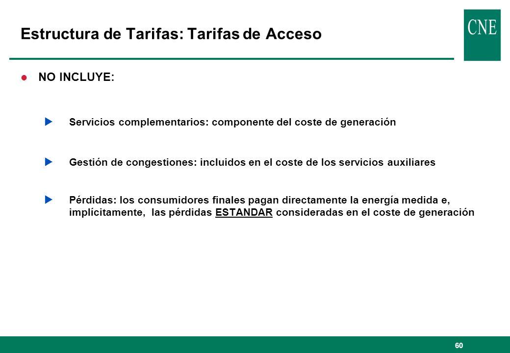 60 Estructura de Tarifas: Tarifas de Acceso l NO INCLUYE: Servicios complementarios: componente del coste de generación Gestión de congestiones: inclu