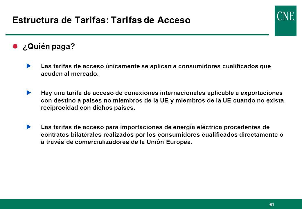 61 Estructura de Tarifas: Tarifas de Acceso l¿Quién paga? Las tarifas de acceso únicamente se aplican a consumidores cualificados que acuden al mercad