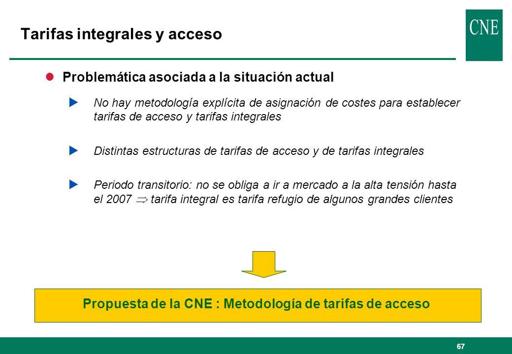 67 lProblemática asociada a la situación actual No hay metodología explícita de asignación de costes para establecer tarifas de acceso y tarifas integ