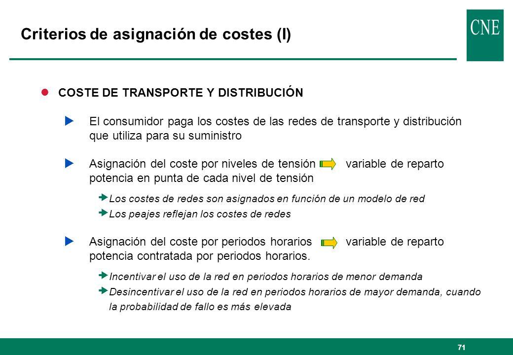 71 lCOSTE DE TRANSPORTE Y DISTRIBUCIÓN El consumidor paga los costes de las redes de transporte y distribución que utiliza para su suministro Asignaci