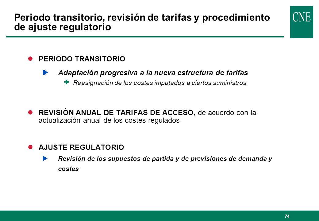 74 lPERIODO TRANSITORIO Adaptación progresiva a la nueva estructura de tarifas Reasignación de los costes imputados a ciertos suministros lREVISIÓN AN