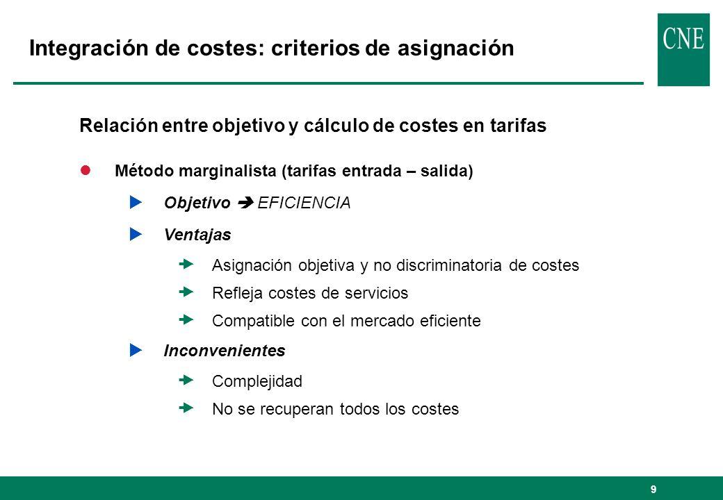 9 Integración de costes: criterios de asignación Relación entre objetivo y cálculo de costes en tarifas lMétodo marginalista (tarifas entrada – salida
