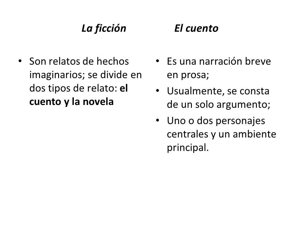 Elementos de literatura Cuentos: Argumento, caracterización y ambiente