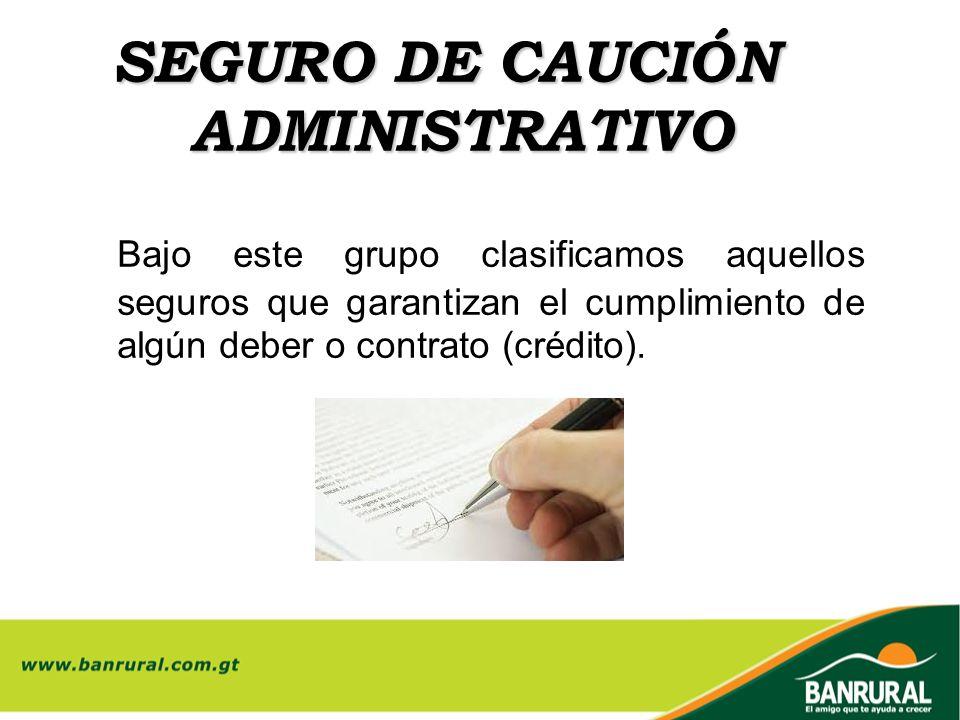SEGURO DE CAUCIÓN ADMINISTRATIVO Bajo este grupo clasificamos aquellos seguros que garantizan el cumplimiento de algún deber o contrato (crédito).