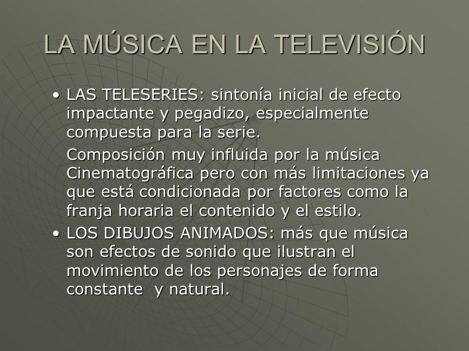 LA MÚSICA EN LA TELEVISIÓN LAS TELESERIES: sintonía inicial de efecto impactante y pegadizo, especialmente compuesta para la serie.LAS TELESERIES: sin