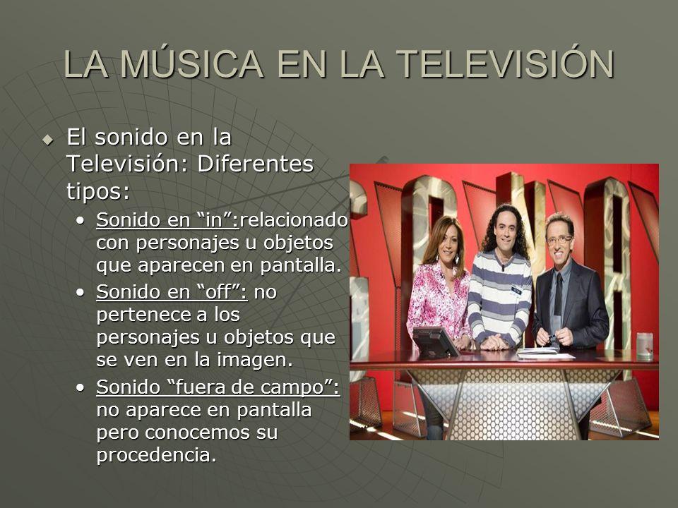 LA MÚSICA EN LA TELEVISIÓN El sonido en la Televisión: Diferentes tipos: El sonido en la Televisión: Diferentes tipos: Sonido en in:relacionado con pe