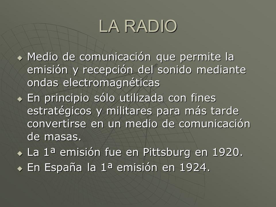 LA RADIO Medio de comunicación que permite la emisión y recepción del sonido mediante ondas electromagnéticas Medio de comunicación que permite la emi