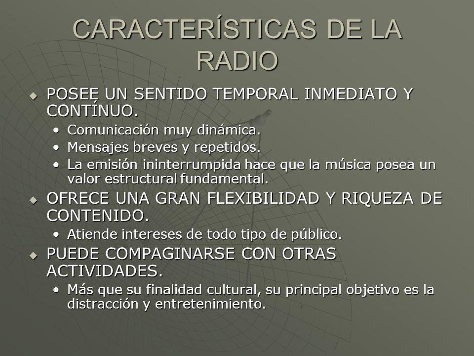 CARACTERÍSTICAS DE LA RADIO POSEE UN SENTIDO TEMPORAL INMEDIATO Y CONTÍNUO. POSEE UN SENTIDO TEMPORAL INMEDIATO Y CONTÍNUO. Comunicación muy dinámica.
