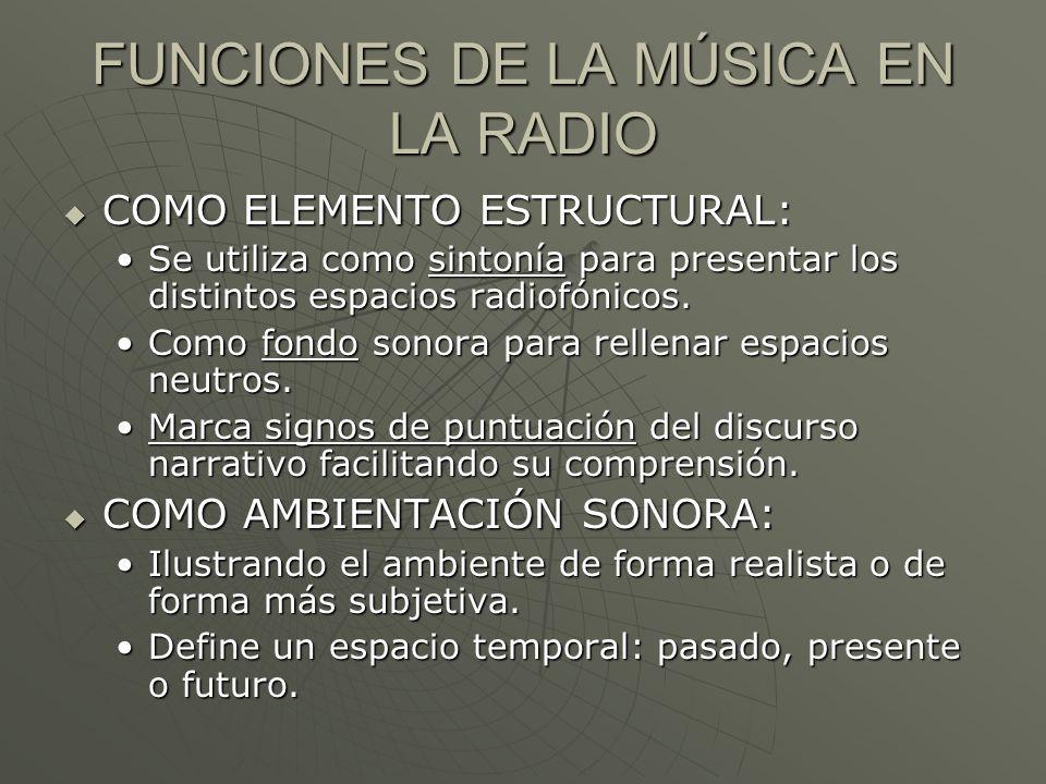 FUNCIONES DE LA MÚSICA EN LA RADIO COMO ELEMENTO ESTRUCTURAL: COMO ELEMENTO ESTRUCTURAL: Se utiliza como sintonía para presentar los distintos espacio