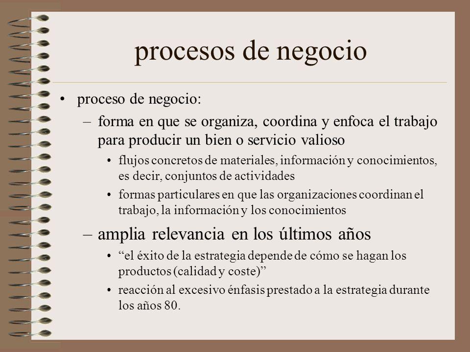 procesos de negocio proceso de negocio: –forma en que se organiza, coordina y enfoca el trabajo para producir un bien o servicio valioso flujos concre