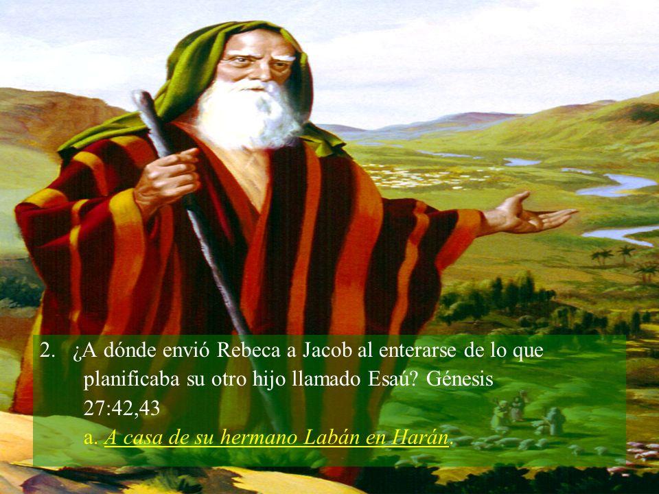 2.¿A dónde envió Rebeca a Jacob al enterarse de lo que planificaba su otro hijo llamado Esaú.