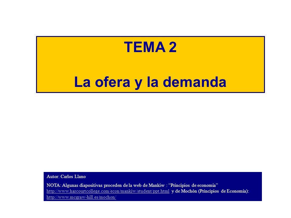 TEMA 2 La ofera y la demanda Autor: Carlos Llano NOTA: Algunas diapositivas proceden de la web de Mankiw : Principios de economía http://www.harcourtcollege.com/econ/mankiw/student/ppt.html y de Mochón (Principios de Economía): http://www.mcgraw-hill.es/mochon/ http://www.harcourtcollege.com/econ/mankiw/student/ppt.html http://www.mcgraw-hill.es/mochon/