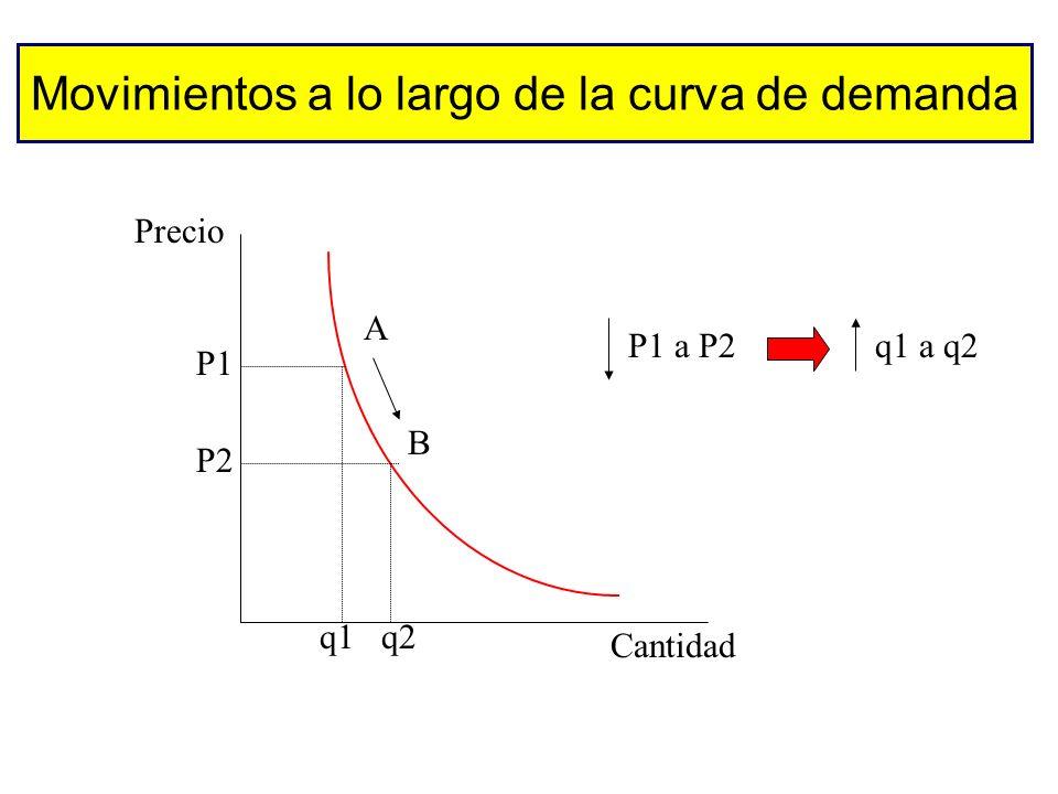 Otros factores que influyen en la demanda Gustos (publicidad, temperatura,...) Número y precio de los bienes sustitutivos Número y precio de los biene