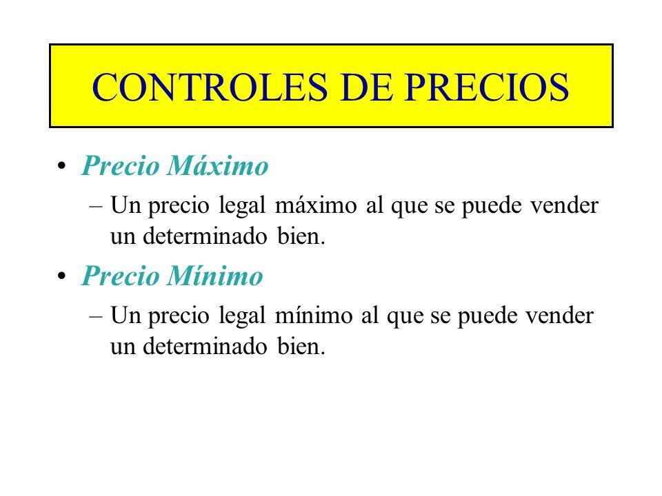 CONTROLES DE PRECIOS Son establecidos por los Gobiernos cuando consideran que el mercado por sí solo va a dañar a compradores o a consumidores. El Gob