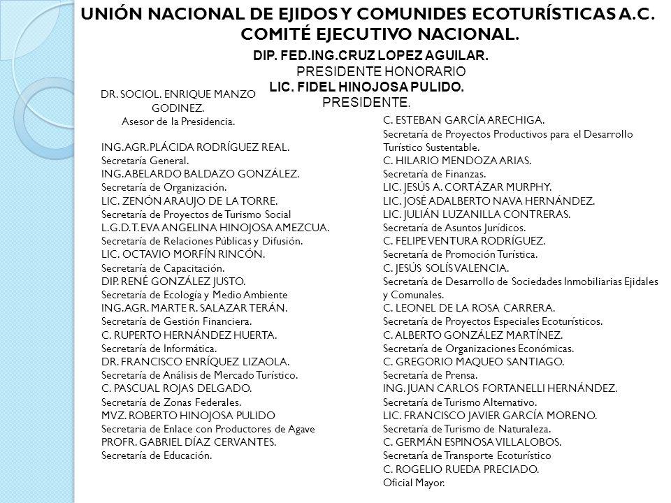 DIP. FED.ING.CRUZ LOPEZ AGUILAR. PRESIDENTE HONORARIO LIC. FIDEL HINOJOSA PULIDO. PRESIDENTE. UNIÓN NACIONAL DE EJIDOS Y COMUNIDES ECOTURÍSTICAS A.C.