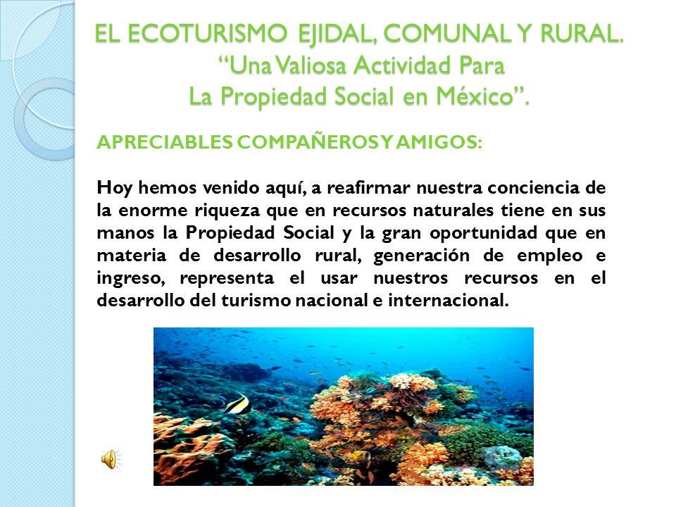 EL ECOTURISMO EJIDAL, COMUNAL Y RURAL. Una Valiosa Actividad Para La Propiedad Social en México. APRECIABLES COMPAÑEROS Y AMIGOS: Hoy hemos venido aqu