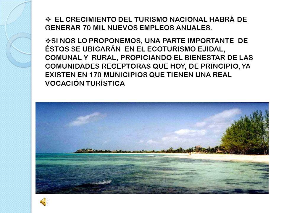 EL CRECIMIENTO DEL TURISMO NACIONAL HABRÁ DE GENERAR 70 MIL NUEVOS EMPLEOS ANUALES. SI NOS LO PROPONEMOS, UNA PARTE IMPORTANTE DE ÉSTOS SE UBICARÁN EN