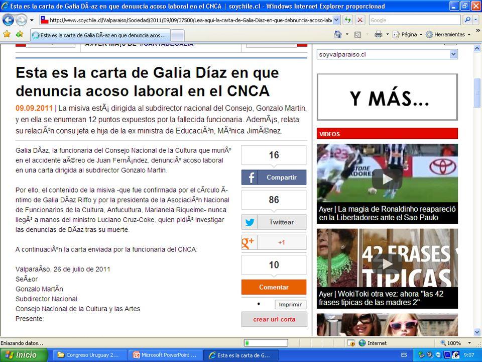 Carta de Galia Díaz en que denuncia acoso laboral en el CNCA.