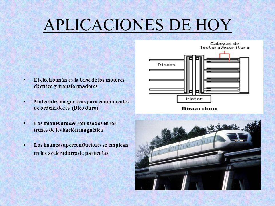 APLICACIONES DE HOY El electroimán es la base de los motores eléctrico y transformadores Materiales magnéticos para componentes de ordenadores (Dico d