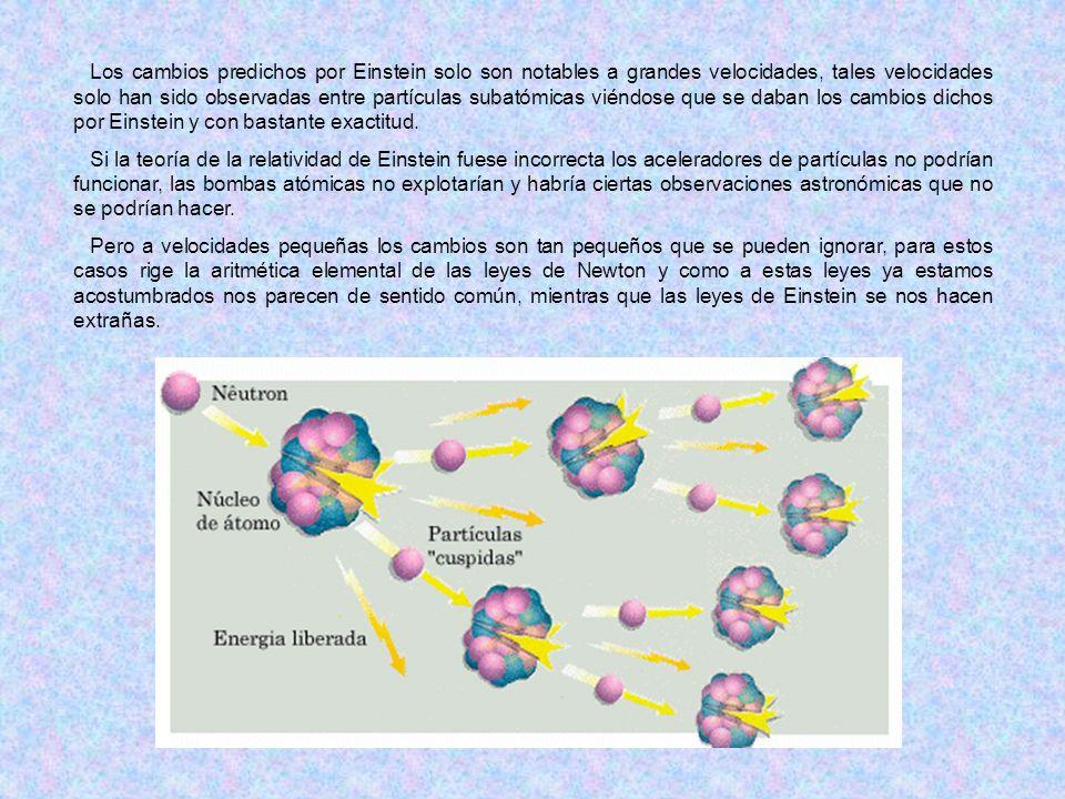 Los cambios predichos por Einstein solo son notables a grandes velocidades, tales velocidades solo han sido observadas entre partículas subatómicas vi