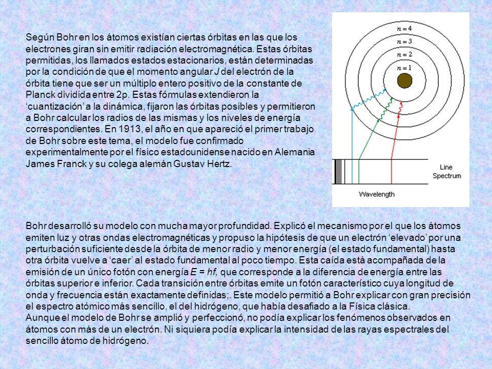 Según Bohr en los átomos existían ciertas órbitas en las que los electrones giran sin emitir radiación electromagnética. Estas órbitas permitidas, los