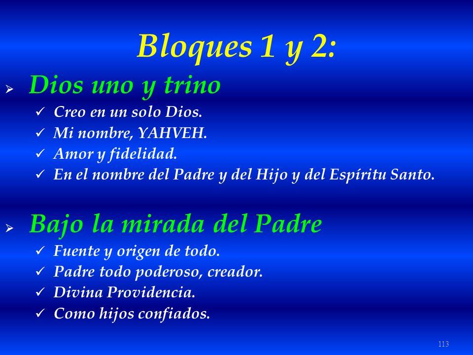 113 Bloques 1 y 2: Dios uno y trino Creo en un solo Dios. Mi nombre, YAHVEH. Amor y fidelidad. En el nombre del Padre y del Hijo y del Espíritu Santo.