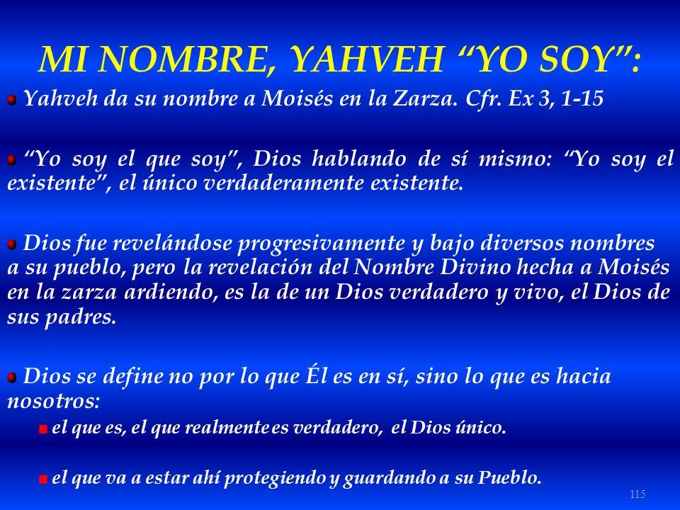 115 MI NOMBRE, YAHVEH YO SOY: Yahveh da su nombre a Moisés en la Zarza. Cfr. Ex 3, 1-15 Yo soy el que soy, Dios hablando de sí mismo: Yo soy el existe