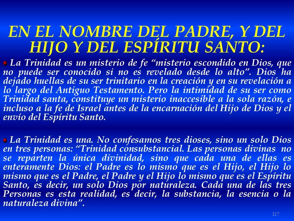 117 EN EL NOMBRE DEL PADRE, Y DEL HIJO Y DEL ESPÍRITU SANTO: La Trinidad es un misterio de fe misterio escondido en Dios, que no puede ser conocido si