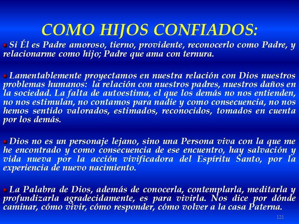 121 COMO HIJOS CONFIADOS: Si Él es Padre amoroso, tierno, providente, reconocerlo como Padre, y relacionarme como hijo; Padre que ama con ternura. Lam
