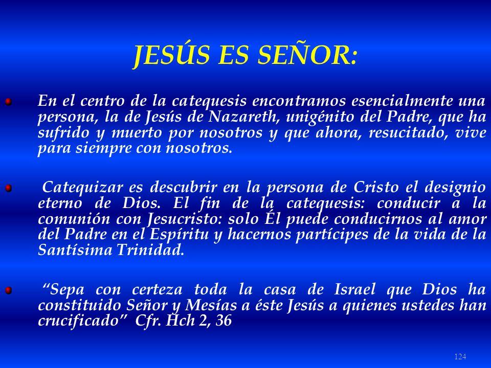124 JESÚS ES SEÑOR: En el centro de la catequesis encontramos esencialmente una persona, la de Jesús de Nazareth, unigénito del Padre, que ha sufrido