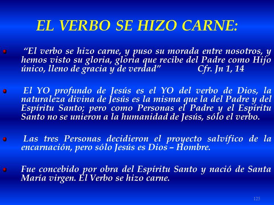125 EL VERBO SE HIZO CARNE: El verbo se hizo carne, y puso su morada entre nosotros, y hemos visto su gloria, gloria que recibe del Padre como Hijo ún