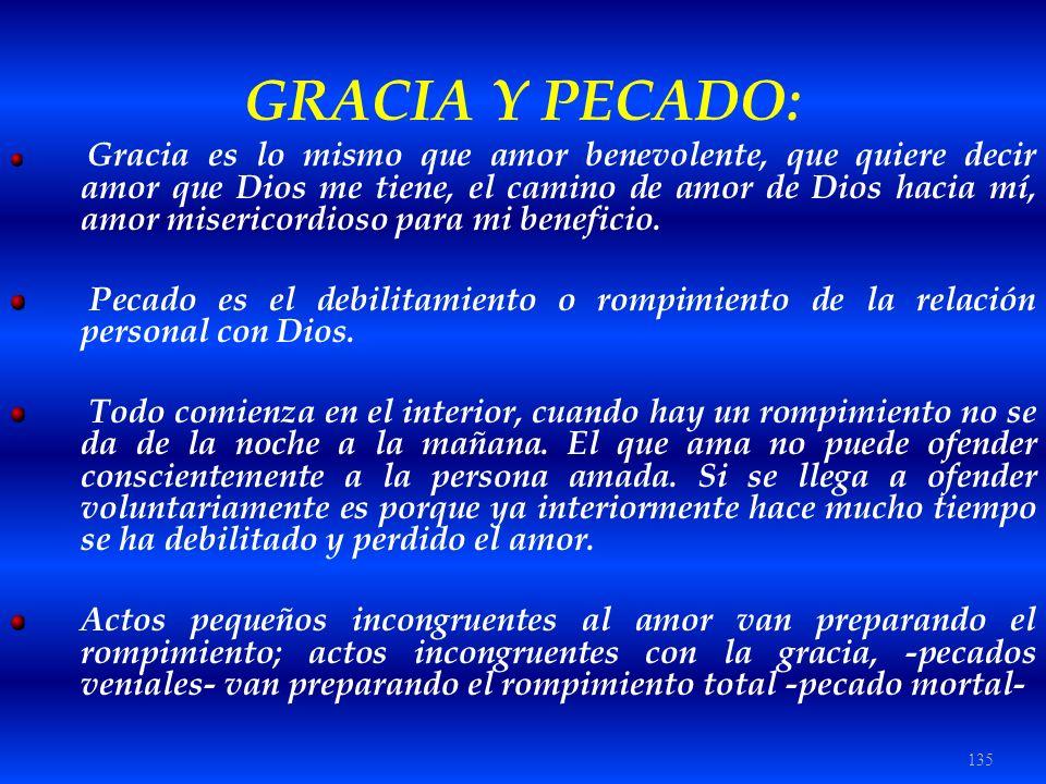 135 GRACIA Y PECADO: Gracia es lo mismo que amor benevolente, que quiere decir amor que Dios me tiene, el camino de amor de Dios hacia mí, amor miseri