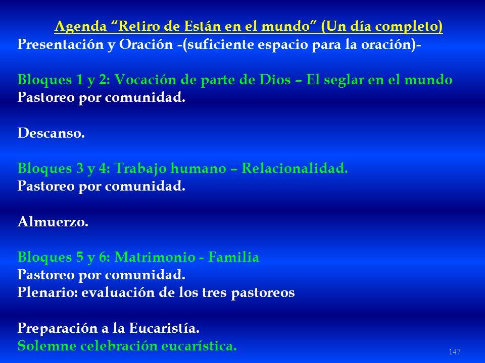 147 Agenda Retiro de Están en el mundo (Un día completo) Presentación y Oración -(suficiente espacio para la oración)- Bloques 1 y 2: Vocación de part