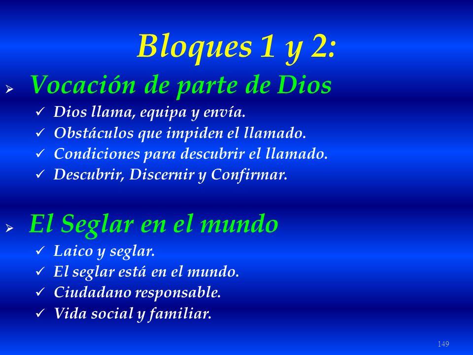 149 Bloques 1 y 2: Vocación de parte de Dios Dios llama, equipa y envía. Obstáculos que impiden el llamado. Condiciones para descubrir el llamado. Des