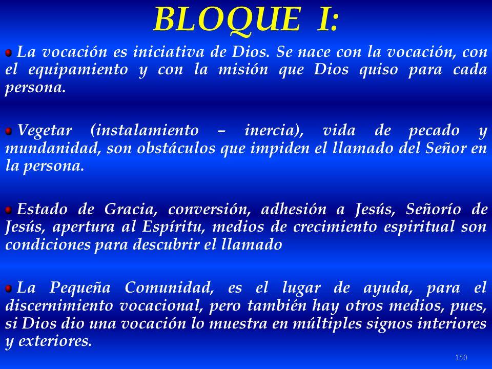 150 BLOQUE I: La vocación es iniciativa de Dios. Se nace con la vocación, con el equipamiento y con la misión que Dios quiso para cada persona. Vegeta
