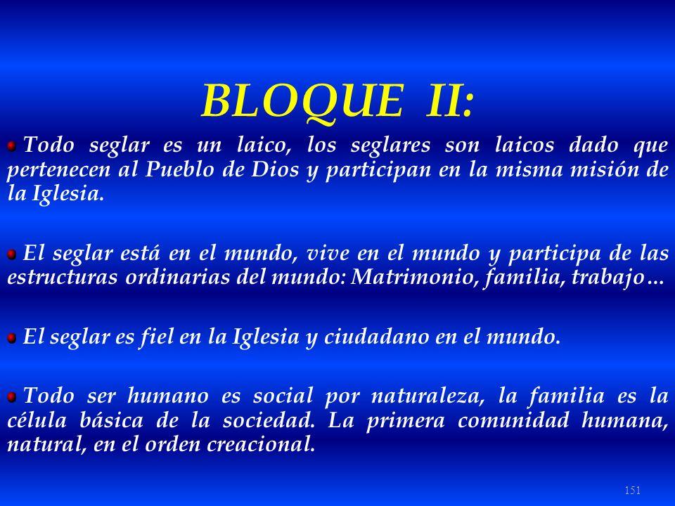 151 BLOQUE II: Todo seglar es un laico, los seglares son laicos dado que pertenecen al Pueblo de Dios y participan en la misma misión de la Iglesia. E