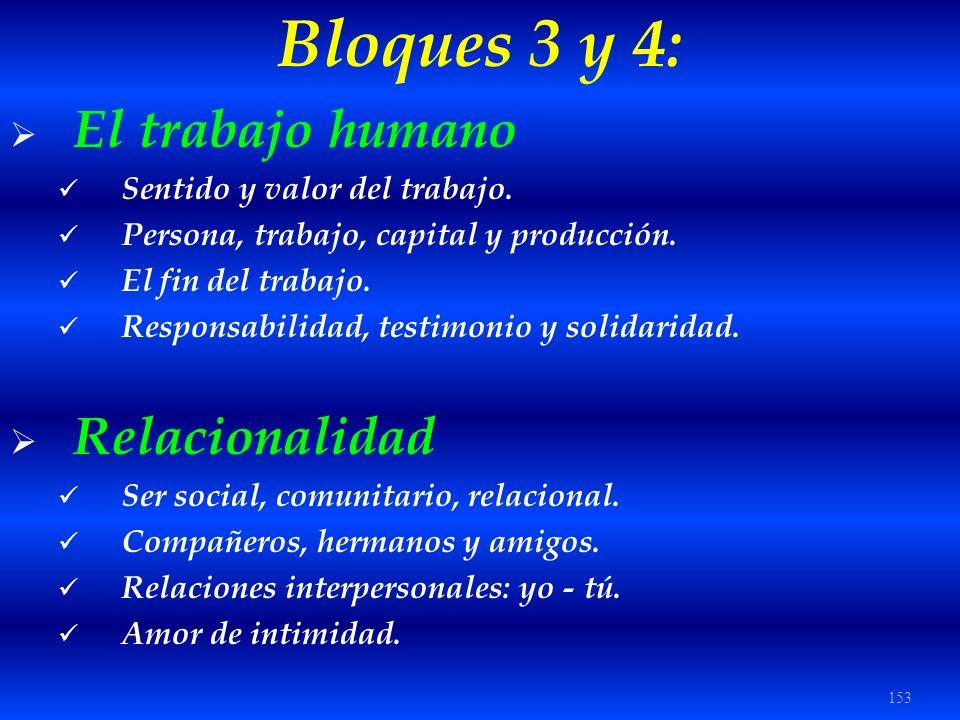 153 Bloques 3 y 4: El trabajo humano Sentido y valor del trabajo. Persona, trabajo, capital y producción. El fin del trabajo. Responsabilidad, testimo