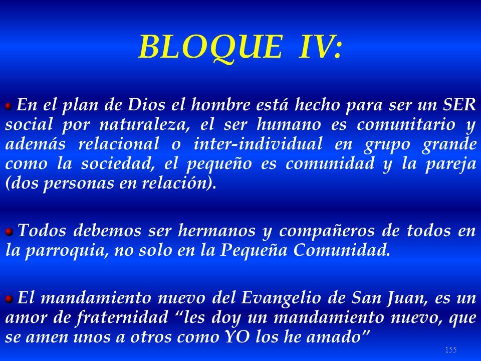 155 BLOQUE IV: En el plan de Dios el hombre está hecho para ser un SER social por naturaleza, el ser humano es comunitario y además relacional o inter