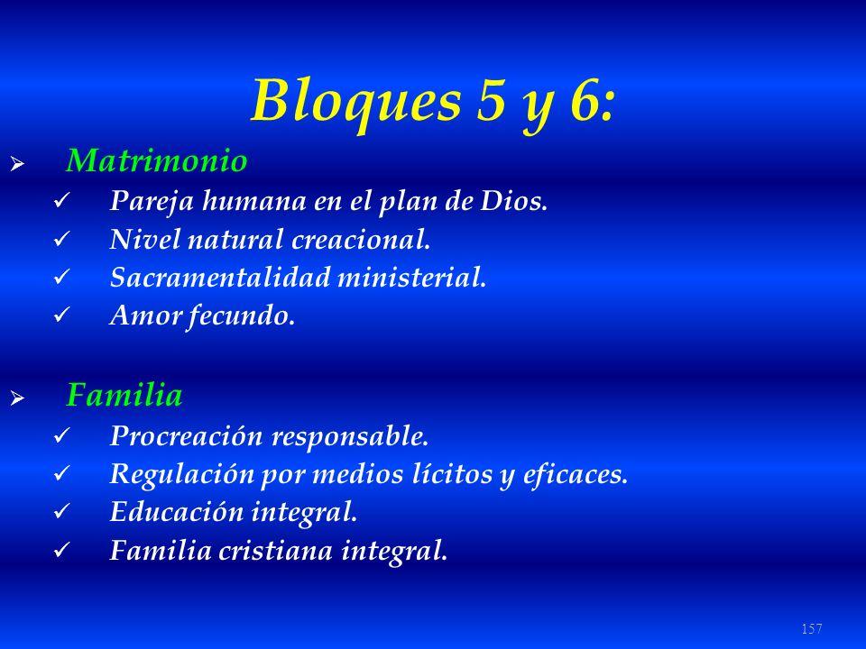 157 Bloques 5 y 6: Matrimonio Pareja humana en el plan de Dios. Nivel natural creacional. Sacramentalidad ministerial. Amor fecundo. Familia Procreaci