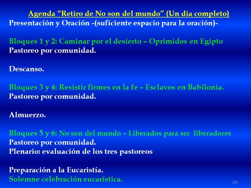 165 Agenda Retiro de No son del mundo (Un día completo) Presentación y Oración -(suficiente espacio para la oración)- Bloques 1 y 2: Caminar por el de