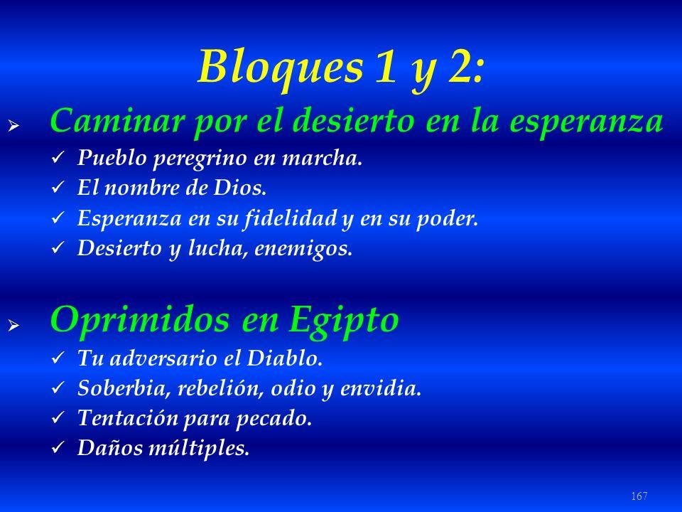 167 Bloques 1 y 2: Caminar por el desierto en la esperanza Pueblo peregrino en marcha. El nombre de Dios. Esperanza en su fidelidad y en su poder. Des