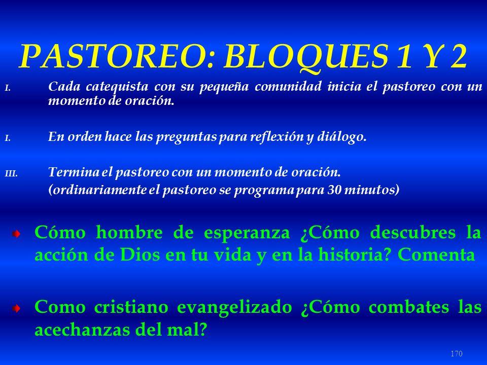 170 PASTOREO: BLOQUES 1 Y 2 I. Cada catequista con su pequeña comunidad inicia el pastoreo con un momento de oración. I. En orden hace las preguntas p