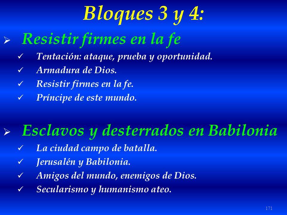 171 Bloques 3 y 4: Resistir firmes en la fe Tentación: ataque, prueba y oportunidad. Armadura de Dios. Resistir firmes en la fe. Príncipe de este mund