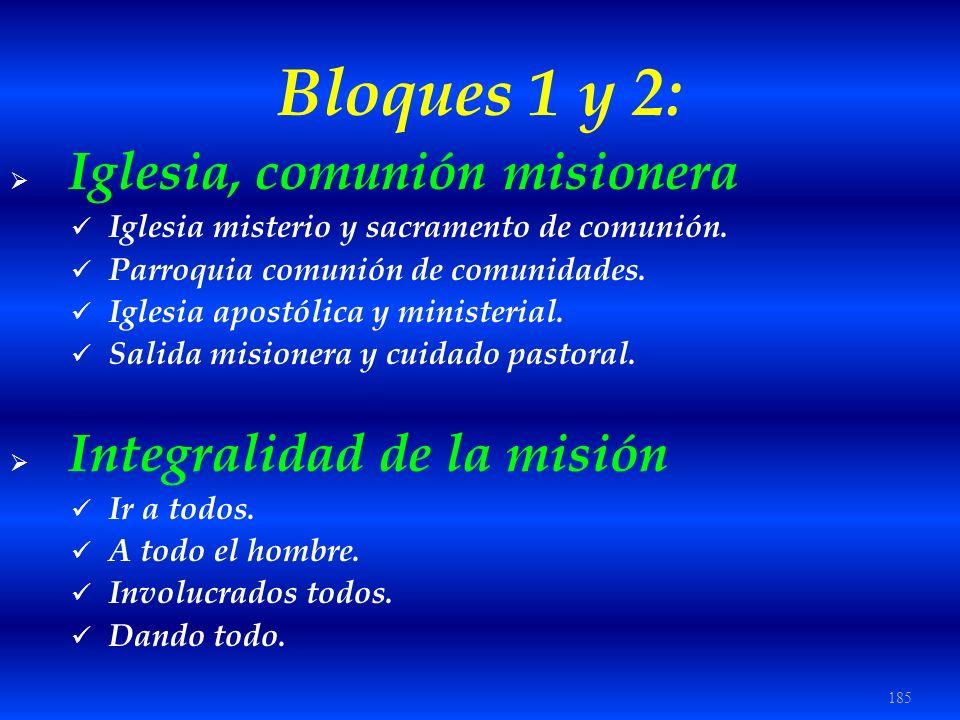185 Bloques 1 y 2: Iglesia, comunión misionera Iglesia misterio y sacramento de comunión. Parroquia comunión de comunidades. Iglesia apostólica y mini