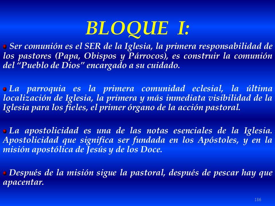 186 BLOQUE I: Ser comunión es el SER de la Iglesia, la primera responsabilidad de los pastores (Papa, Obispos y Párrocos), es construir la comunión de