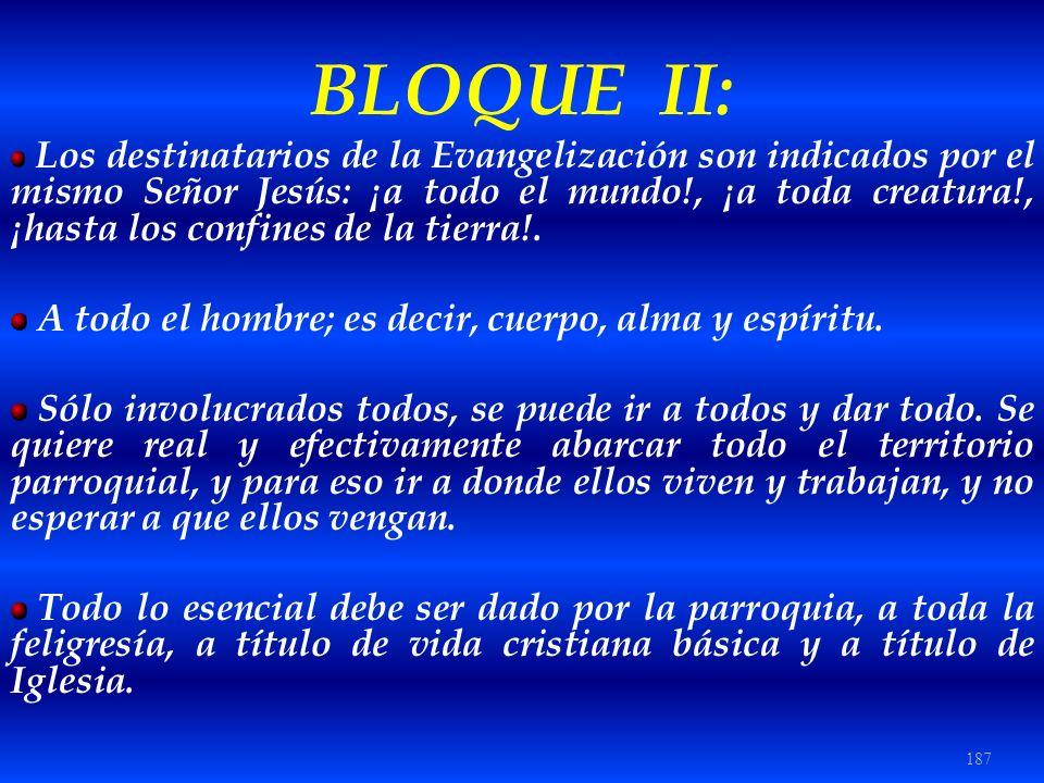187 BLOQUE II: Los destinatarios de la Evangelización son indicados por el mismo Señor Jesús: ¡a todo el mundo!, ¡a toda creatura!, ¡hasta los confine