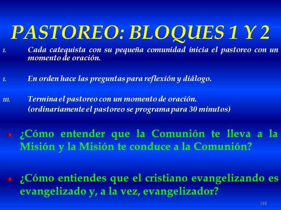 188 PASTOREO: BLOQUES 1 Y 2 I. Cada catequista con su pequeña comunidad inicia el pastoreo con un momento de oración. I. En orden hace las preguntas p
